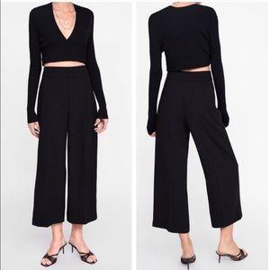 Zara black high waisted culottes